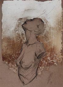 Körper, Blattgold, Zeichnung, Mischtechnik