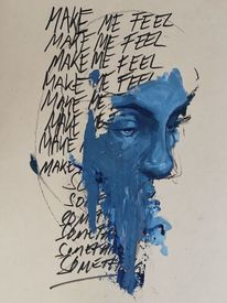 Blau, Mixed media, Surreal, Gesicht