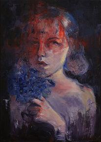 Rot, Selbstportrait, Mädchen, Frau