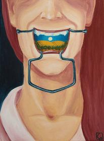 Mund, Portrait, Landschaft, Zähne