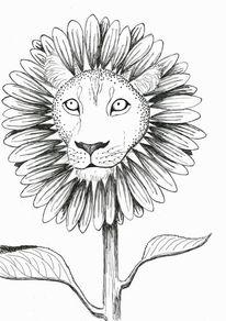 Katze, Sonnenblumen, Löwe, Pflanzen