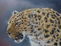 Leopard, Großkatze, Zeichnen, Pastellmalerei