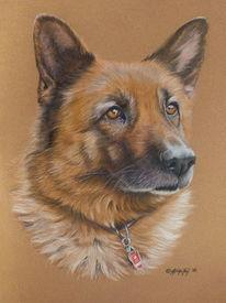 Tiere, Malerei, Hund, Pastellmalerei