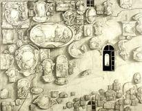 Haus, Verschiedenen, Bleistiftzeichnung auf hartfaser, Wand