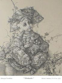 Allegorie, Narrenhut, Junge, Zeichnung mit bleistift