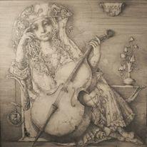 Blumenstrauß, Frau mit kontrabass, Sitzen, Allegorie