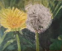 Landschaft, Grün, Blumen, Malerei