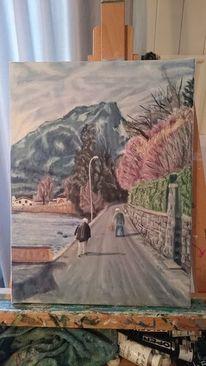 Berge, See, Haus, Malerei