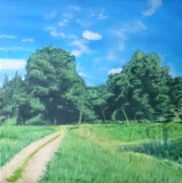 Wiese, Landschaft, Wald, Malerei
