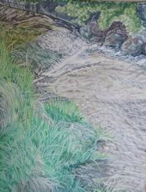 Teich, Wasser, Wasserfall, Malerei