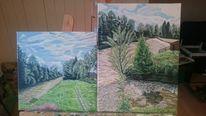 Hütte, Fluss, Wasser, Malerei