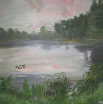 See, Ente, Abendstimmung, Malerei