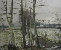 Ems, Birken, Winterstimmung, Malerei