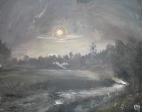 Landschaft, Mondschein, Malerei, Verträumt