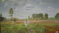 Wiese, Wiesenfee, Birken, Wolken