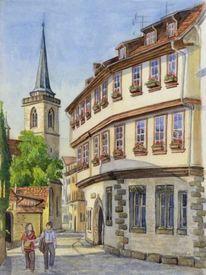 Erfurt, Papier, Aquarell, Architektur