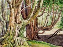 Aquarellmalerei, Baum, Natur, Aquarell
