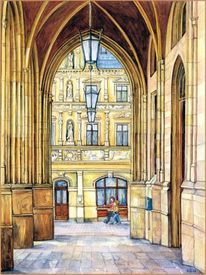 Erfurt, Rathaus, Aquarellmalerei, Aquarell