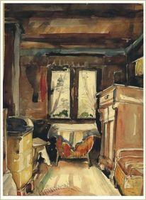 Zimmer, Aquarellmalerei, Aquarell, Großmutter
