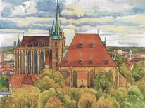 Petersberg, Erfurt, Dom, Aquarell