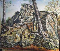 Felsen, Baum, Landschaft, Malerei