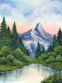 See, Ölmalerei, Berge, Malerei
