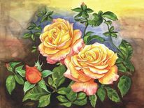 Aquarellmalerei, Rose, Aquarell,