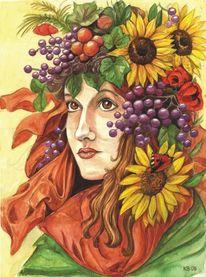 Aquarellmalerei, Portrait, Herbst, Sonnenblumen