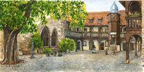 Innenhof, Sommer, Erfurt, Augustinerkloster