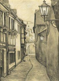 Kirchgasse, Bleistiftzeichnung, Erfurt, Gasse