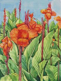 Lilien, Aquarellmalerei, Aquarell,