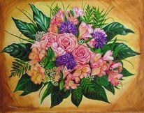 Blumenstrauß, Acrylmalerei, Rose, Malerei