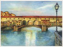 Italien, Brücke, Ponte vecchio, Aquarellmalerei