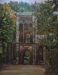 Ruine, Ilm, Ölmalerei, Park