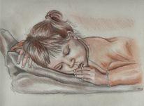 Rötel, Bleistiftzeichnung, Zeichnungen, Mädchen