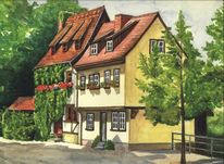 Erfurt, Studentenburse, Aquarellmalerei, Aquarell