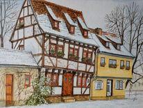 Studentenburse, Winter, Schnee, Erfurt