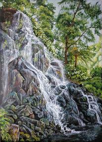 Licht, Wasserfall, Wald, See