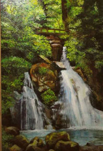 Ölmalerei, Wasserfall, Schwarzwald, Malerei