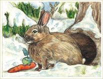 Hase, Möhre, Winter, Aquarell