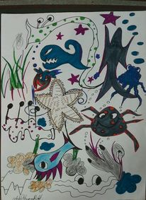 Meer, Tiere, Kopfherum, Malerei