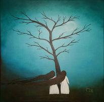 Haare, Blau, Mädchen, Baum