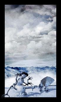 Berge, Tim burton figuren, Schnee, Digitale kunst