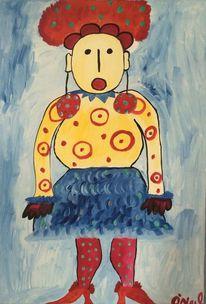 Frau, Malerei, Figural, Blau