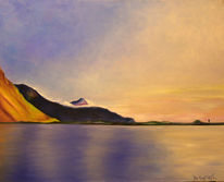 Malerei, Ruhig, Landschaft, Blau