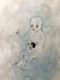 Aquarellmalerei, Frieden, Skizze, Kind