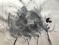 Kugelschreiber, Skizze, Unendlichkeit, Tuschmalerei