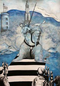 Zeichnung, Aquarellmalerei, Liebe, Reiter