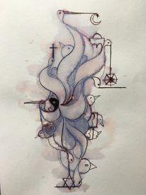 Vogel, Zeit, Kugelschreiber, Hoffnung