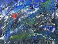 Abstrakt, Blau, Grün, Rot schwarz